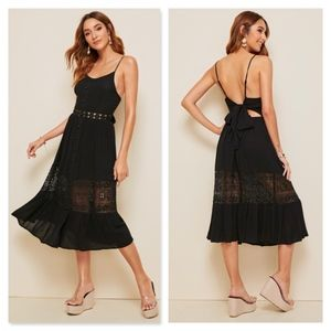 Lace Detail Waist Buttoned Cami Midi Black Dress